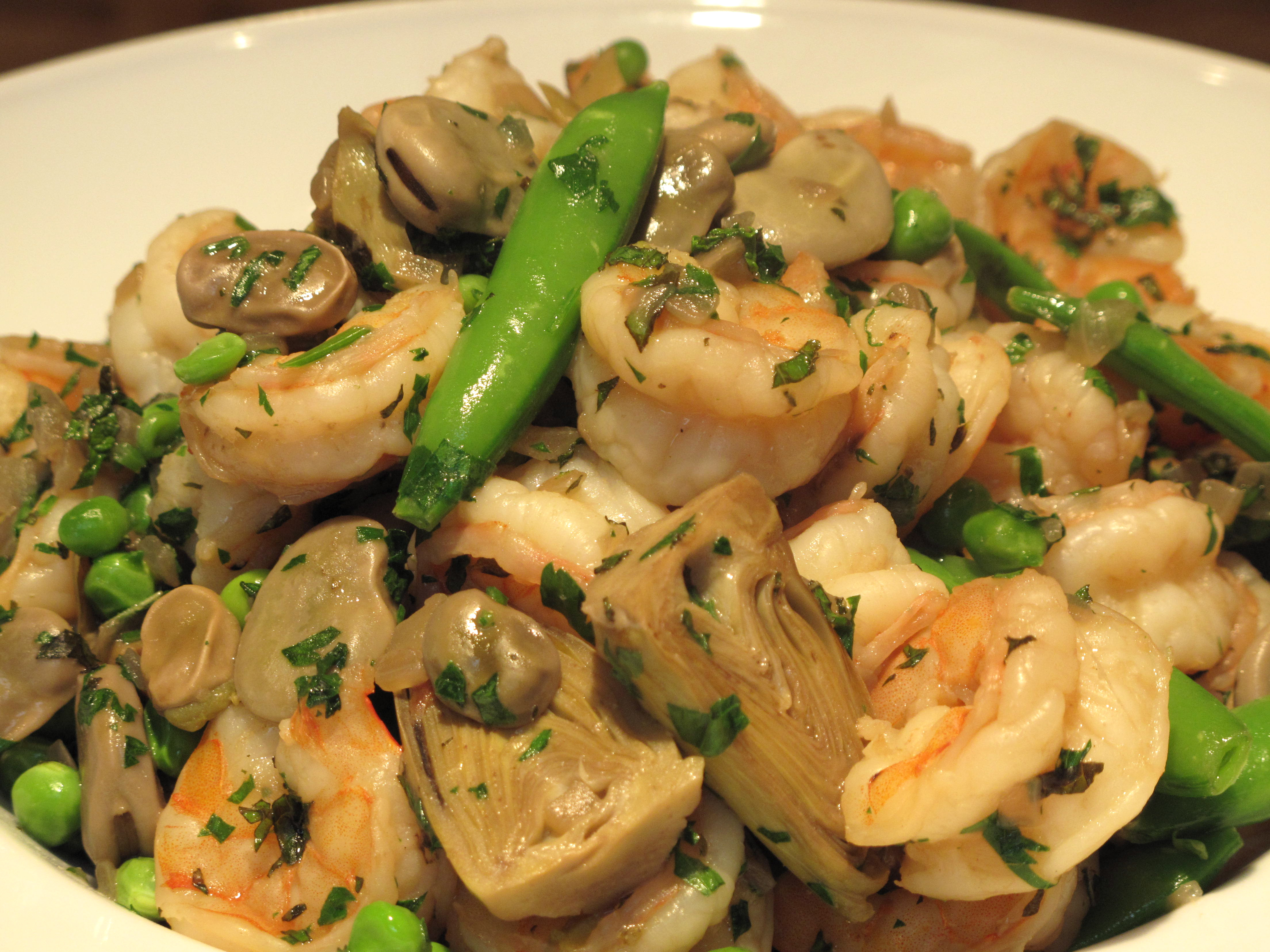 Shrimp with Fava Beans & Baby Artichokes
