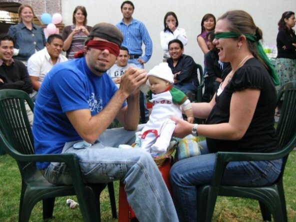 pics photos fun coed baby shower game girls