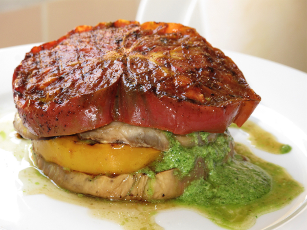 Post image for Grilled Eggplant Heirloom Tomato Stack